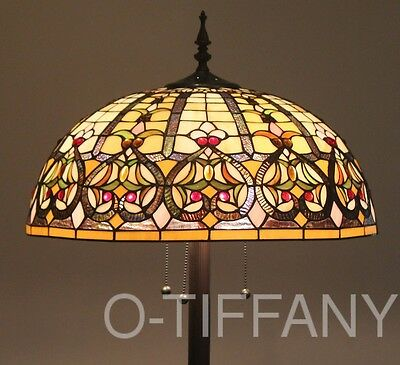 """Tiffany Style Stained Glass Floor Lamp Granduer w/ 20"""" Shade"""