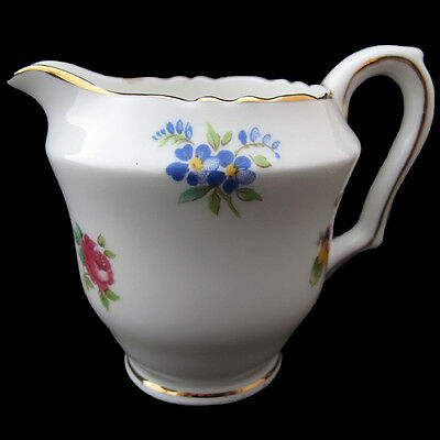 Crown Staffordshire Mini Creamer Floral With Gold Trim