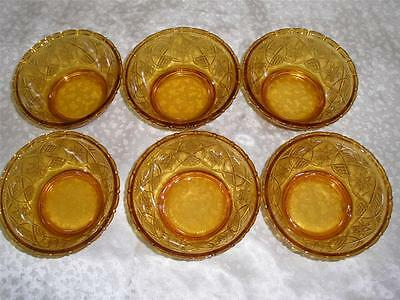 Retro Patterned Amber Glass Sweets Bowls X 6