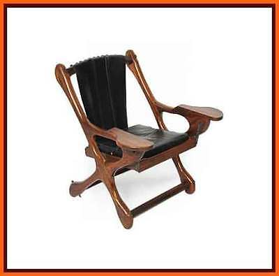 60s 1960s retro Don Shoemaker Rosewood Sling Rocking Chair Vintage