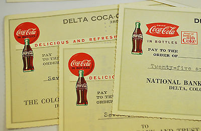 Coca-Cola Gehaltsschecks Scheck Checks USA 1960er Coke Delta Bottling Co.