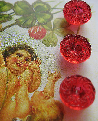 "Set of 6 Vintage 7/16"" Red Wreath Glass Buttons~1920's ~new/old stock"