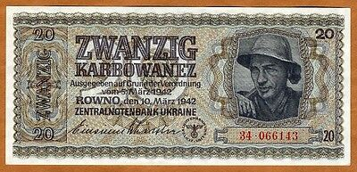 Ukraine, 20 Karbovantsiv 1942, P-53, WWII, German Occupation UNC