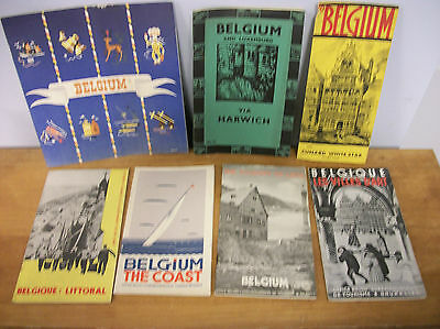 Lot of 7 BELGIUM Travel Booklets & Brochures 1930s-1950, Illustrated & Maps