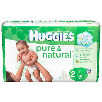 Huggies Pure & Natural Size 2 Diapers - 30 Count