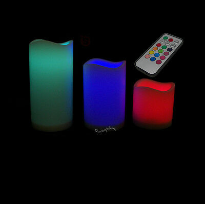 LED Flameless Flickering  Light Candle Candles With Remote Timer 3 Pc  Set