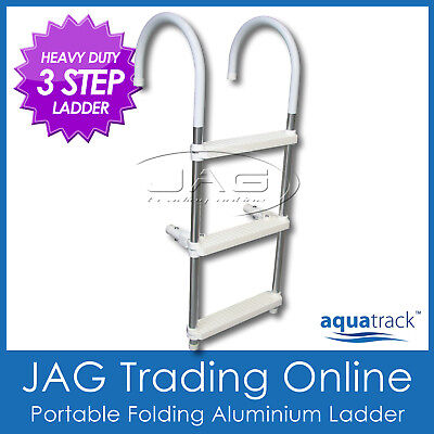 AQUATRACK HEAVY DUTY 3 STEP ALUMINIUM FOLDING BOARDING LADDER - Boat/Yacht/Pool