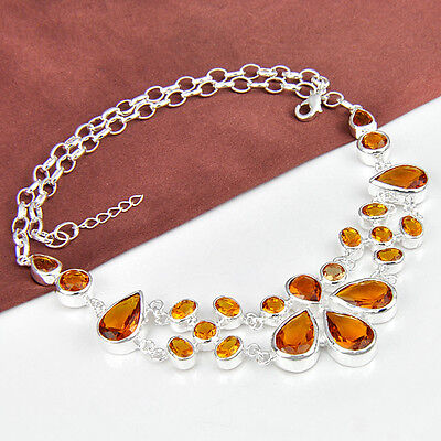 Special GIFTS Honey Brazil Citrine Gemstone Silver Chain Necklace As Party Gift