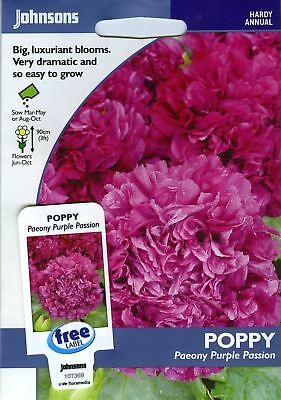 Johnsons Seeds - Pictorial Pack - Flower - Poppy Purple Passion - 750 Seeds