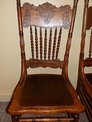 Beautiful Pressed Back Antique Oak Chair With Tooled Leather Seat
