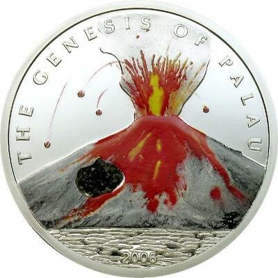 Palau 2006 Volcano 5 Dollars Colour Silver Coin,Proof