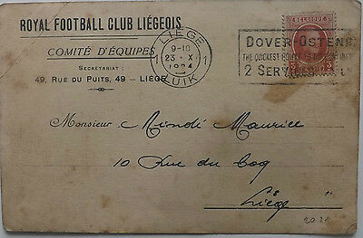 1924 FC Liege of Belgium Postcard to Player