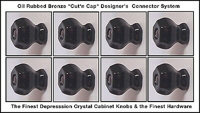 LOT of 8 ANTIQUE type Knob Pulls Oil Rubbed Bronze Cut'n Cap Installation System