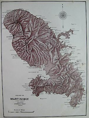 1903 Antique MARTINIQUE Map Caribbean Island Map Vintage 1900s Map