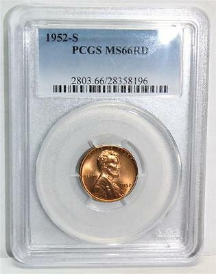 1952S 1 cent PCGS MS66 RD (Lincoln Cent Wheat Reverse)