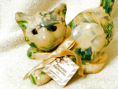 PASTEL BLUE YELLOW PORCELAIN PATCHWORKS CAT FIGURINE BY JOAN BAKER NWT