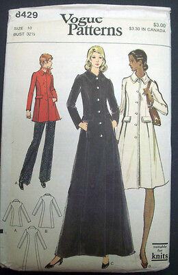 Vogue semi-fitted front button coat in 3 lengths pattern 8429 size 10