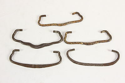 Lot of 5 Antique Worn Victorian Steel Curved Dresser Drawer Pull Handles ONLY