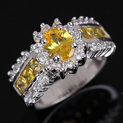 Size 7,8,9,10,11 Jewelry Woman's AAA Topaz 18K Gold Filled Ring Stamp 10KT Gift