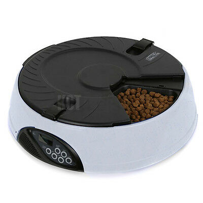 6 Meal Automatic Pet Feeder Stone Dog Cat Animal Dispensing Bowl Digital Lcd