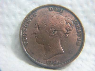 1854 Great Britain Large Penny Vf