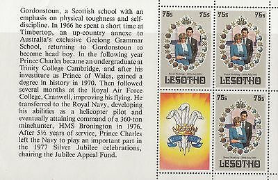 (32973) Lesotho Princess Diana Wedding Booklet Pane #4 MNH U/M