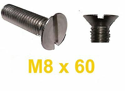 M8 x 60 Stainless Countersunk Slotted Machine Screw x10