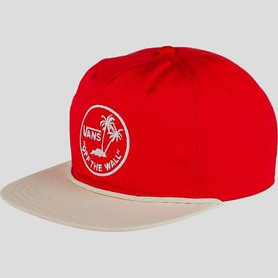 c78cbb2e Vans Off The Wall Dual Palm Island Mens Red Snapback Unstructured Camper Hat  NWT