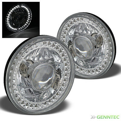 "For 7"" Round Chrome Pro Headlights w/Super-Bright LED Built-In Instant Upgrade"