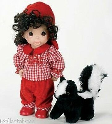 Precious Moments Doll 4516 JUST A LIL' STINKER, Girl with Stuffed Skunk