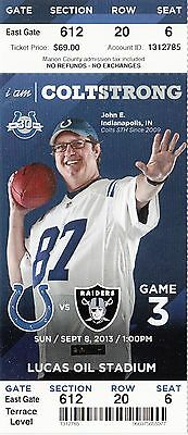 2013 Indianapolis Colts Vs Oakland Raiders Ticket Stub 9/8 Terrell Pryor Debut