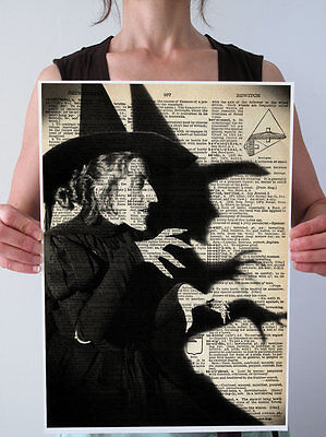 BIG WICKED WITCH OZ ANTIQUE DICTIONARY ART PRINT GICLEE Poster HaLLoWeeN 13x19
