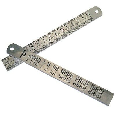 "6"" 150mm STAINLESS STEEL RULER RULE DUAL MARKING CONVERSION TABLE ON REAR"