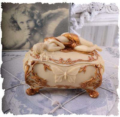 Jewelry Box Art Nouveau Woman Figure Box Casket Jewelry Case Veronese Golden