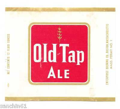 OLD ENTERPRISE BREWERY MASSACHUSETTS OLD TAP ALE  BEER LABEL