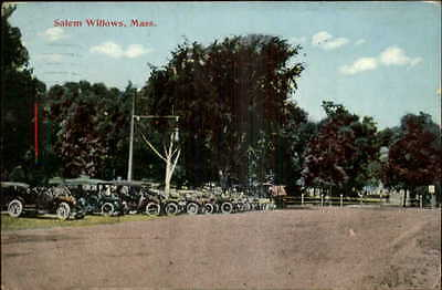 Salem Willows MA Old Cars Park Along Road c1910 Old Postcard
