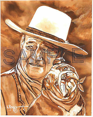 JOHN WAYNE BULLDOG #390 BY L ROYER 8X10 NUMBERED SIGNED CERTIFICATE BIOGRAPHY