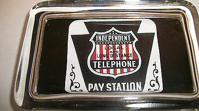 Independent Telephone Pay Phone Advertising Sign Shiel Logo GLASS PAPERWEIGHT GT