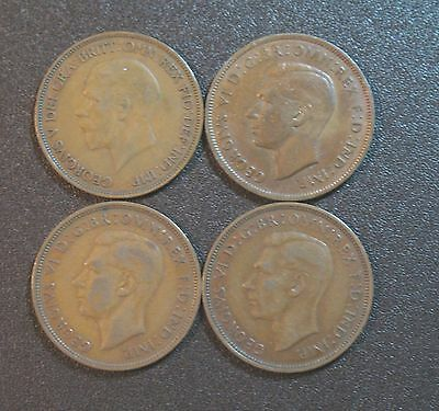 Lot of 4 One Penny Coins/Great Britain, George V and George VI, Circulated