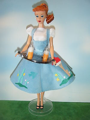 BARBIE REPRODUCTION FRIDAY NIGHT DATE DOLL, FASHION w/SERVING TRAY & DOLL STAND