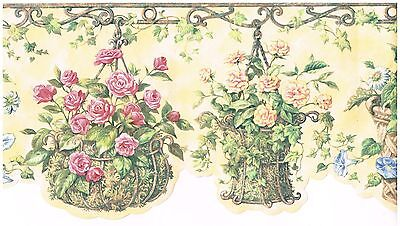 Floral Baskets /& Flower Pots Die Cut Border FK78464DC red green yellow orange