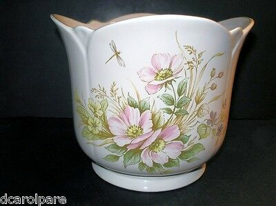 Royal Winton China Large Ivory Flower Vase Coloroll Wild Pink Rose Butterfly 3Qt