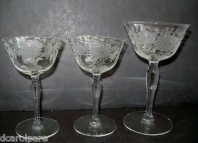 Tiffin/Franciscan Floral Etch 2000-3 POPPIES Champagne &2 Cocktail Goblets 1939+