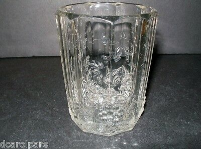 "Westmoreland/L G Wright Paneled Grape Glass Tumbler Clear 3.75""T 7oz 1952/1963"