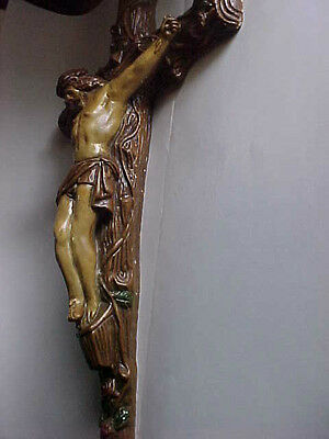 "Vintage LARGE CRUCIFIX 22"" chalkware Plaster Cross religious Wall Antique roses"