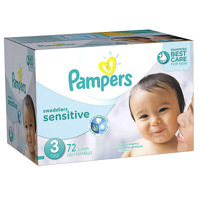 Pampers Swaddlers Size 3 Sensitive Diapers Super Pack - 72 Count