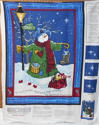 """1 Daisy Kingdom """"Tattered Snowman"""" Christmas Lap Quilt/Wallhanging fabric Panel"""