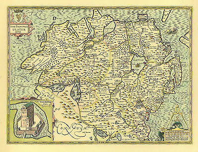Ulster FULL SIZE  PRINTED COPY John. Speed c.1610  Old Map - A UNIQUE Gift!