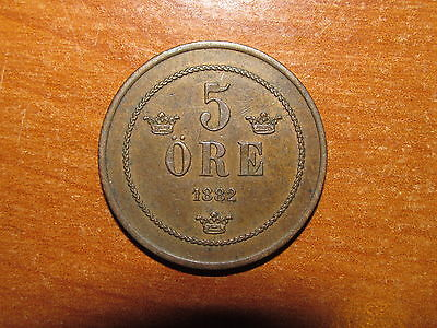 Sweden 1882 5 Ore coin Extremely Fine nice