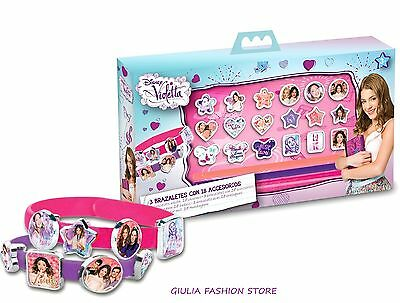 Set Regalo 3 Braccialetti Con 18 Accessori Disney Violetta